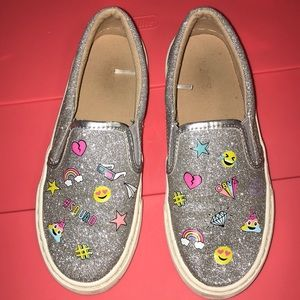Girl's silver glitter emoji Slip on sneakers